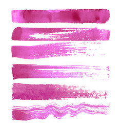 set of pink brush strokes vector image vector image