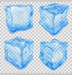 set of transparent light blue ice cube vector image