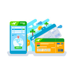 Tickets for the plane on a smartphone vector