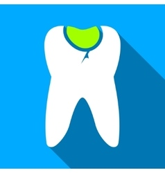 Tooth caries flat long shadow square icon vector