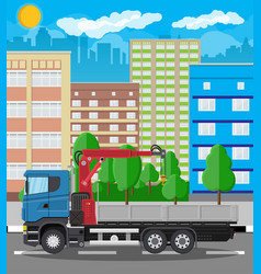 Truck with crane and platform cityscape vector