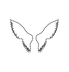 Wings sign black dashed icon vector
