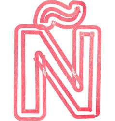 Capital letter n drawing with red marker vector