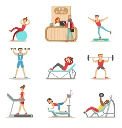 People member of the fitness class working out vector