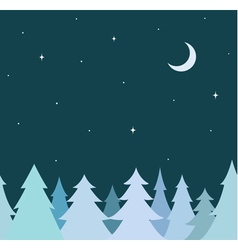 seamless border from blue tree and night sky vector image