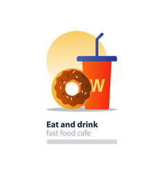 chocolate donut and red tumbler glass with straw vector image