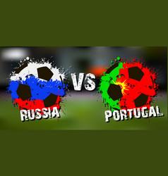 Banner football match russia vs portugal vector