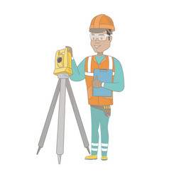 Hispanic surveyor builder working with theodolite vector