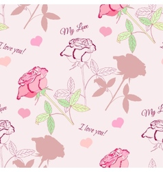Seamless pattern with pink rose2-2 vector image