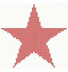 Christmas Knitted background with star vector image