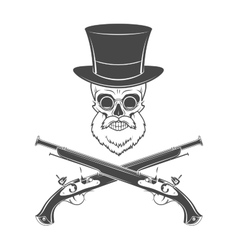 Gentleman of fortune skeleton with beard glasses vector