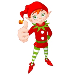 Thumb up christmas elf vector