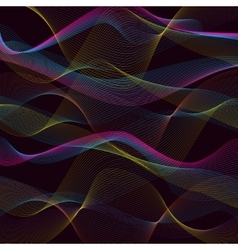 Abstract waves pattern on black background vector