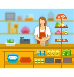 Pet shop seller at counter in store flat vector