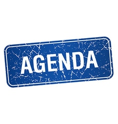 Agenda blue square grunge textured isolated stamp vector