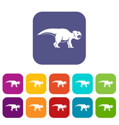 ceratopsians dinosaur icons set flat vector image vector image
