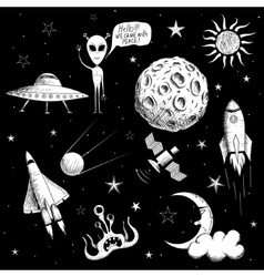 Collection of space objects vector image