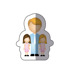 Color man her girls twins icon vector