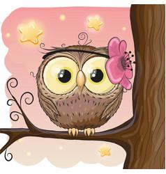 Cute owl on a brunch vector