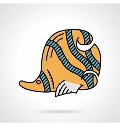 Flat design icon for yellow coralfish vector image vector image