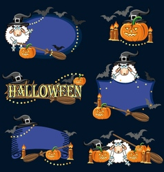 Halloween frame elements vector