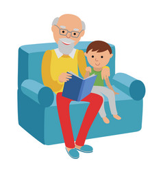 Happy senior man sitting on the sofa read book for vector
