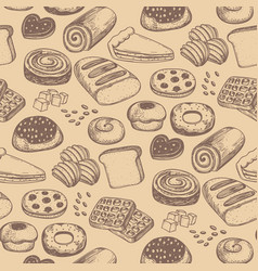 Homemade bakery product seamless pattern vector