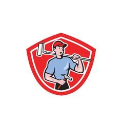 House painter paint roller shield cartoon vector