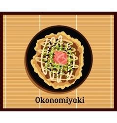 Japanese pizza okonomiyaki vector