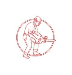 Lumberjack Arborist Chainsaw Circle Mono Line vector image vector image