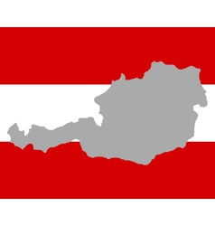 Map and flag of Austria vector image vector image