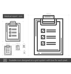 Medical report line icon vector