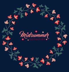 Midsummer floral frame jacobean flowers wreath vector