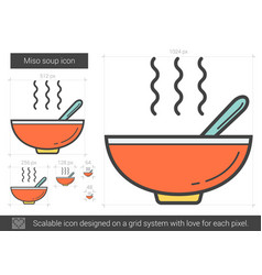 Miso soup line icon vector