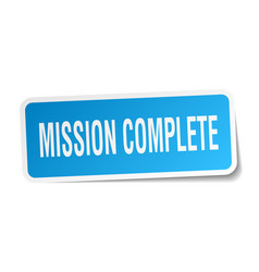 Mission complete square sticker on white vector
