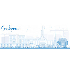 Outline canberra skyline with blue buildings vector