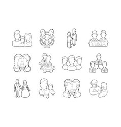 people group icon set outline style vector image