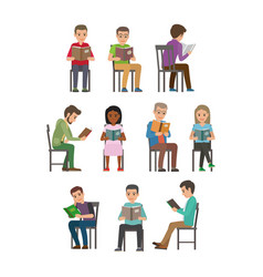 People seating and reading textbook flat vector