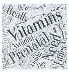 Prenatal vitamins word cloud concept vector