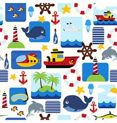 seamless pattern with sea elements vector image vector image