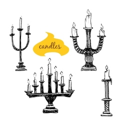 Set of candlesticks with candles vector image vector image