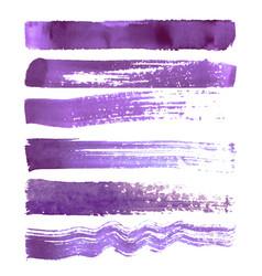 set of purple brush strokes vector image vector image