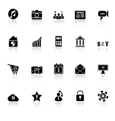 Smart phone icons with reflect on white background vector image
