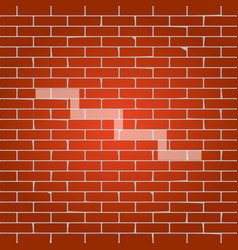 Stair down sign whitish icon on brick vector