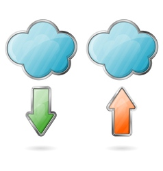 Upload and Download on Cloud Icon vector image vector image