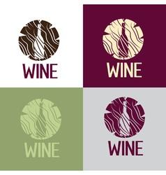 wine bootle in wooden log vector image vector image