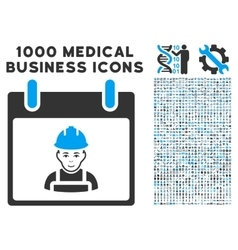 Worker calendar day icon with 1000 medical vector