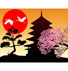 Silhouette pagoda and sakura vector