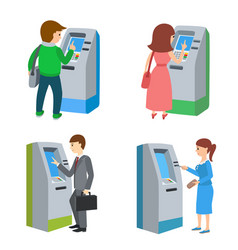 People using atm machine vector