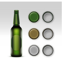 Glass transparent green bottle of beer with label vector